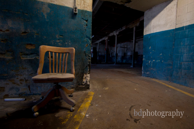Abandoned factory with chair