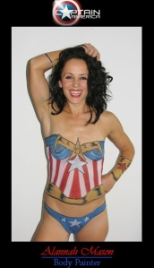 Woman painted with Captain American costume