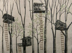 Print of tree houses