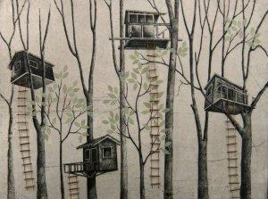 Print of tree houses