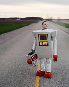 Man in robot costume