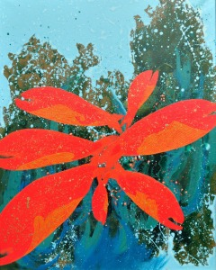 large red flower painting
