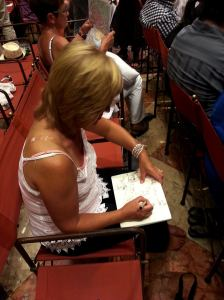 Woman sketching in Venice