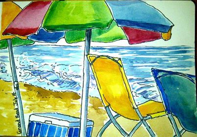 watercolour of beach scene
