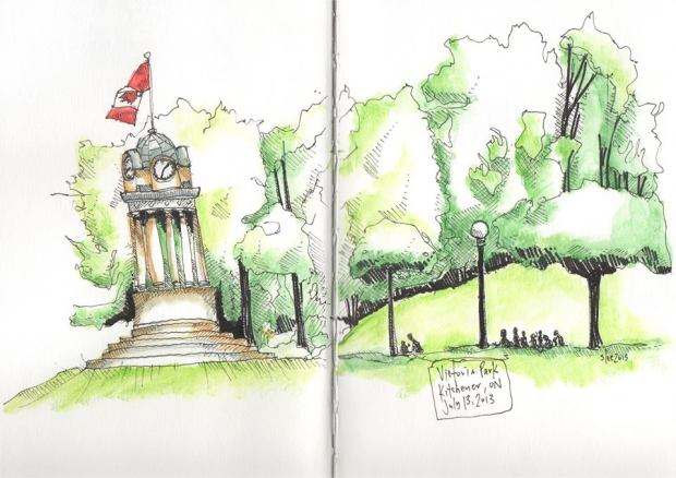 Victoria Park sketch with clock tower