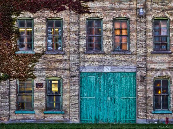 Factory with green door
