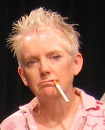 Woman with spiked hair with a cigarette