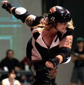 roller derby player on the track