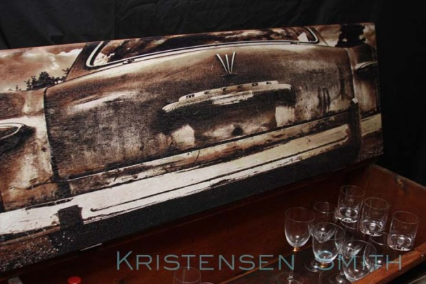 old car printed on wood
