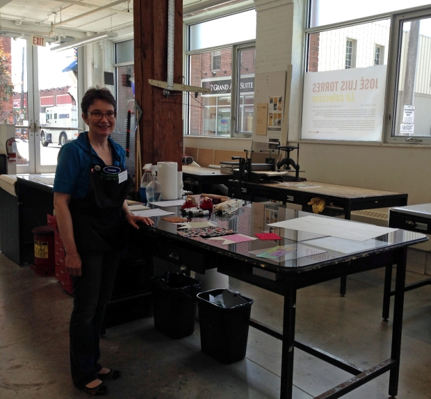 woman standing in printmaking studio