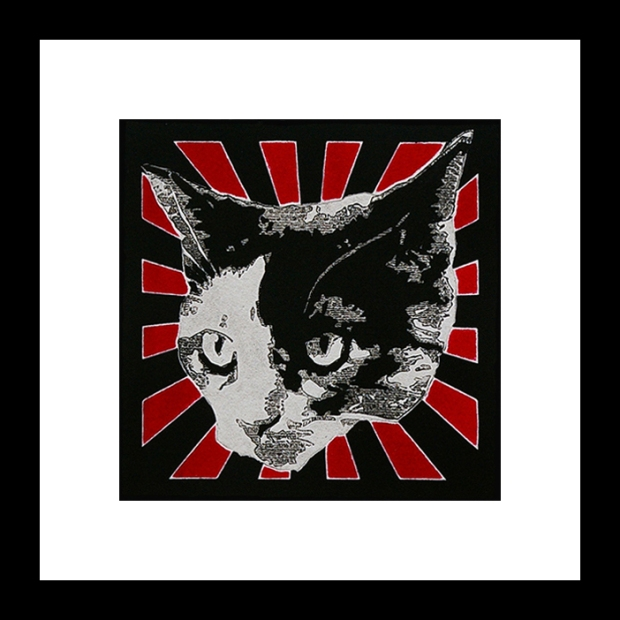 pop art print of black and white cat