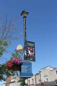 city lamp post with cat banner