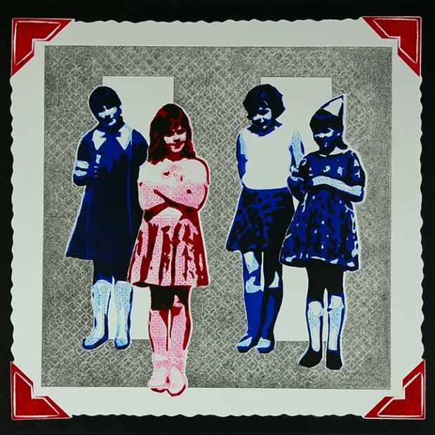 pop art print of 1960s children at a birthday party