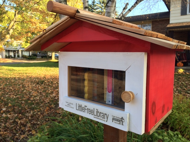 Red little library with fall leaves