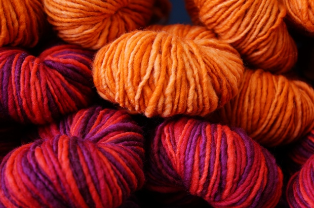 Orange and red wool