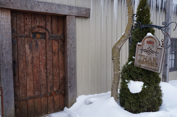 heavy wooden and iron door