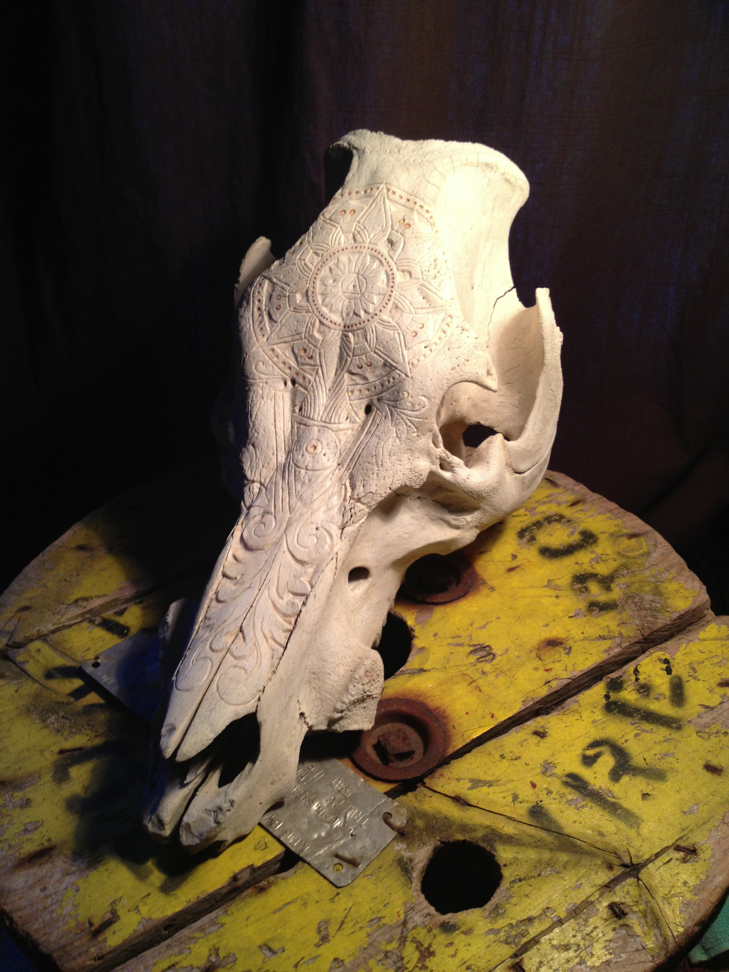 Bone Carving Red Leather Booth