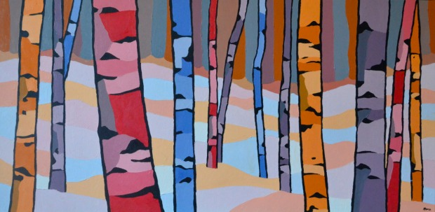 Colour birch forest painting