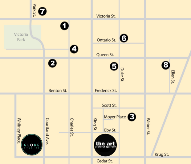 Map of artist's studio in downtown Kitchener