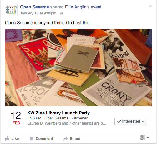 KW Zine Library Launch Party event invite