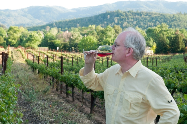 Man in vineyard drinking red wine