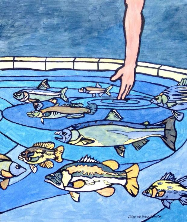 painting fish in pond