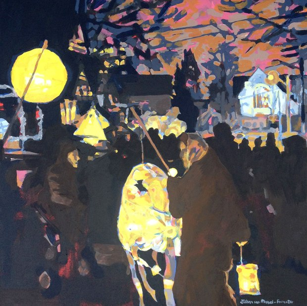 painting of lantern walk