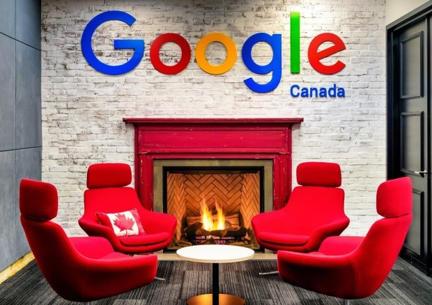 Google Canada Kitchener Waterloo office red chairs by fire