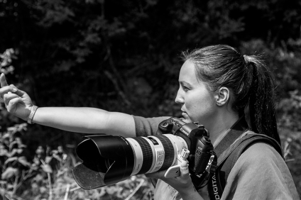 Photographer working black and white